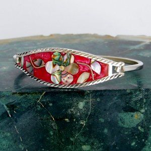 Mexican Bracelet Abalone Alpaca Silver Red C01